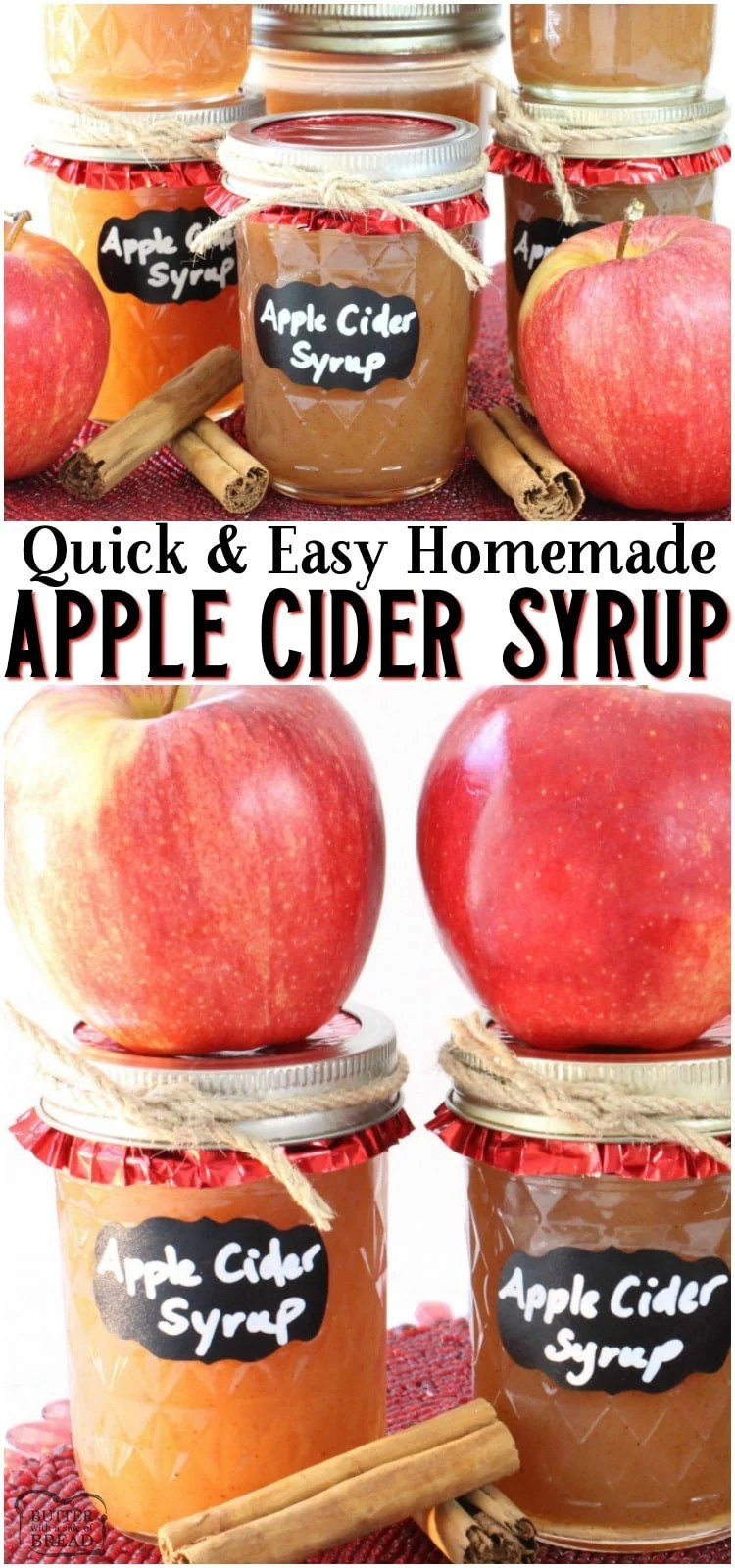 Easy Apple Cider Syrup made with simple ingredients including apple cider & pumpkin pie spice! This delightful homemade syrup recipe is easy to make and tastes wonderful. Perfect flavors for Fall breakfasts! #apples #applecider #syrup #homemade #breakfast #applecinnamon #easyrecipe from BUTTER WITH A SIDE OF BREAD