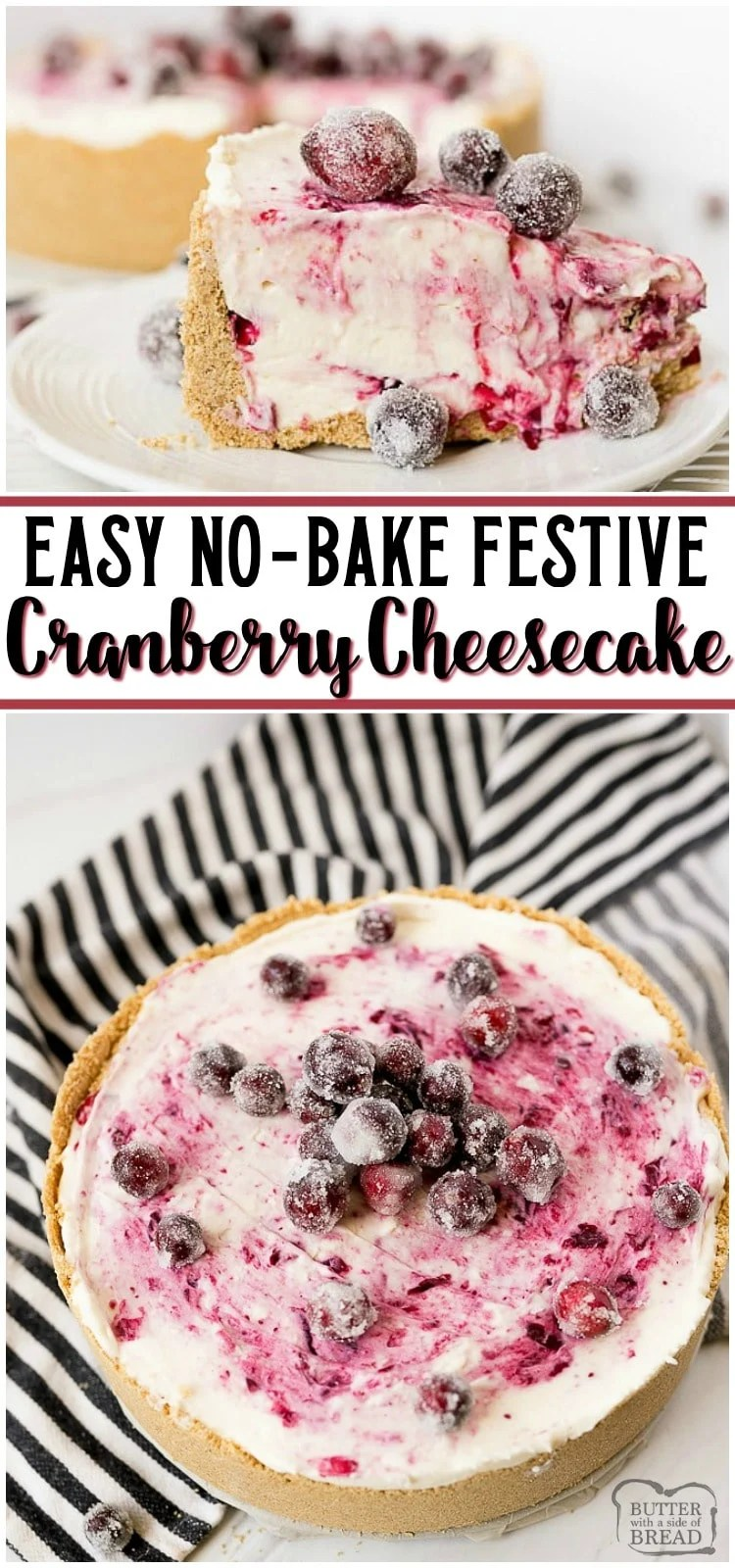 Cranberry Cheesecake Recipe has a fresh cranberry swirl and sugared cranberries as garnish! Easy 4-ingredient NO-BAKE cheesecake filling that's perfect for beginners.