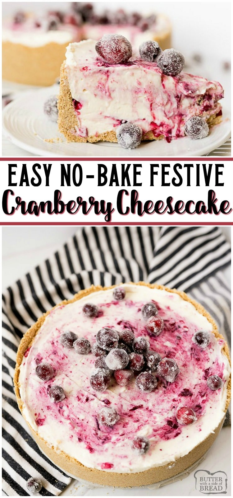 Cranberry Cheesecake Recipe has a fresh cranberry swirl and sugared cranberries as garnish! Easy 4-ingredient NO-BAKE cheesecake filling that's perfect for beginners. #cheesecake #cranberries #winter #holidays #christmas #dessert #nobake #recipe from BUTTER WITH A SIDE OF BREAD