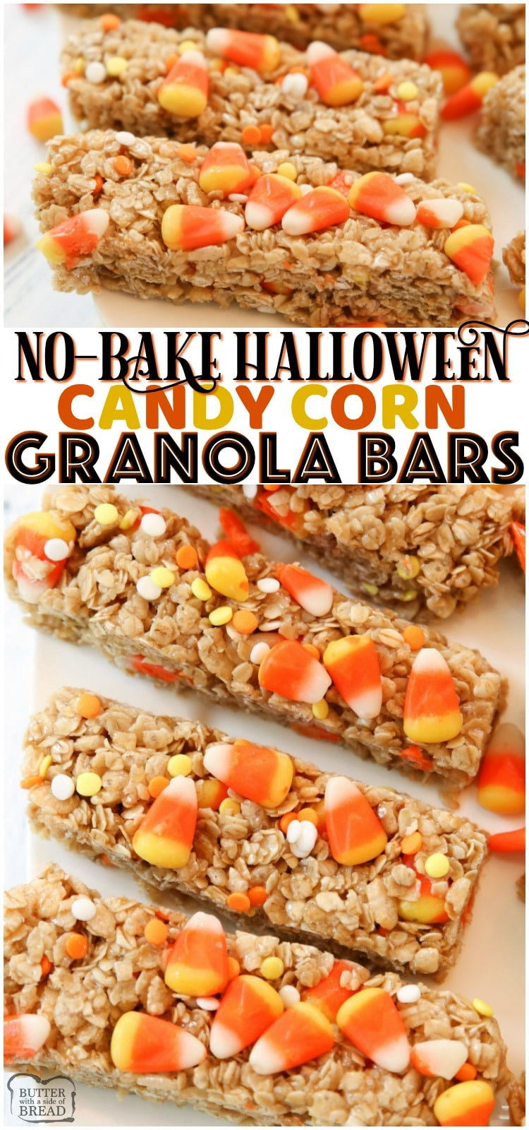 Quick & Easy Candy Corn Granola Bar recipe made in minutes. Perfect Halloween snack! Simple ingredients combined to make a tasty homemade granola bars.