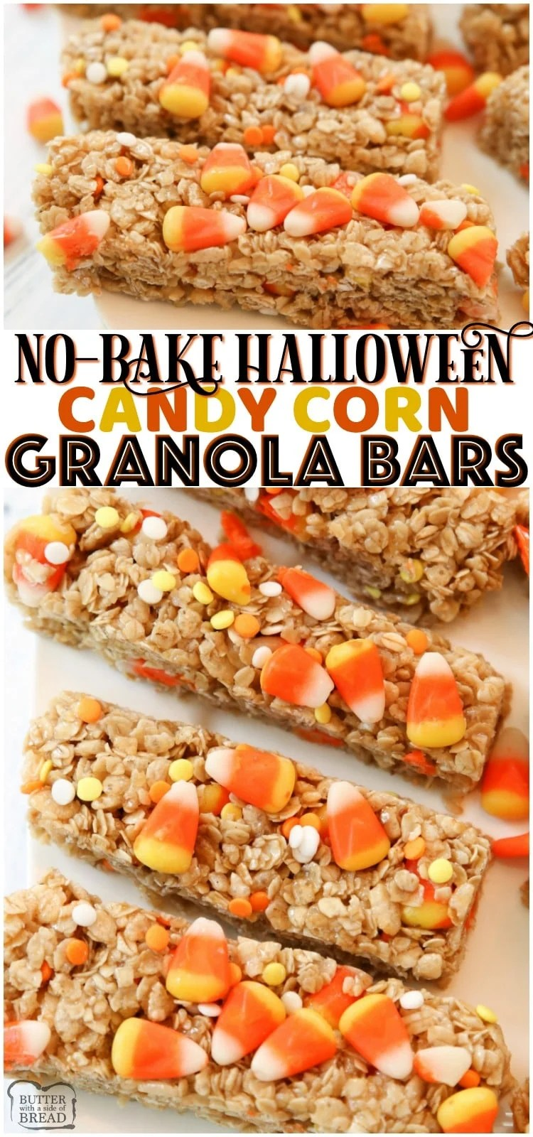 Quick & Easy Candy Corn Granola Bar recipe made in minutes. Perfect Halloween snack! Simple ingredients combined to make a tasty homemade granola bars. #Halloween #CandyCorn #granolaBars #HalloweenSnack #dessert #recipe from BUTTER WITH A SIDE OF BREAD