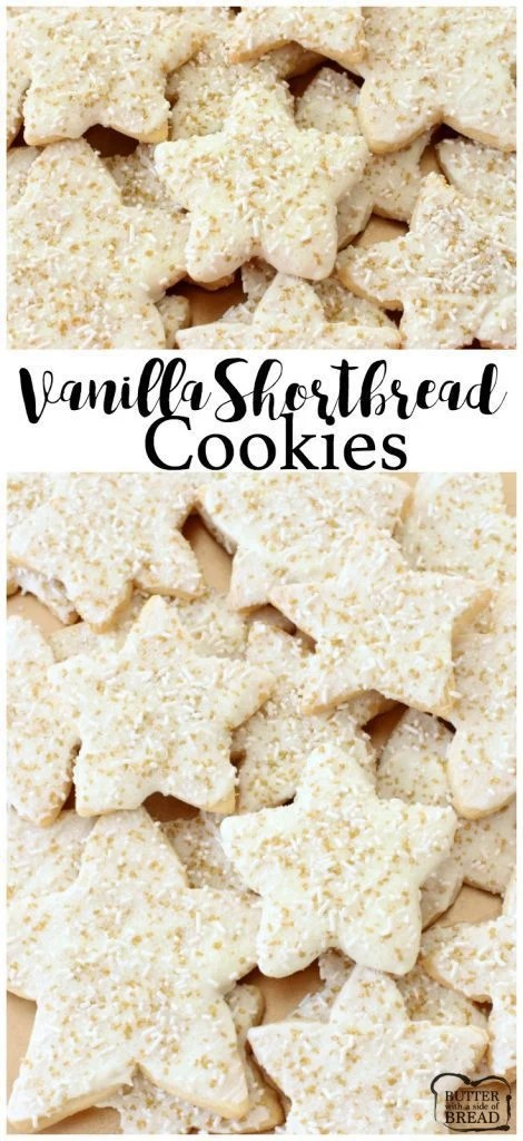 Bright & Sparkly Vanilla Shortbread Cookies - Butter With A Side of Bread