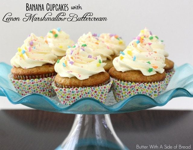 Banana Cupcakes with Lemon Marshmallow Buttercream from Butter With A Side of Bread