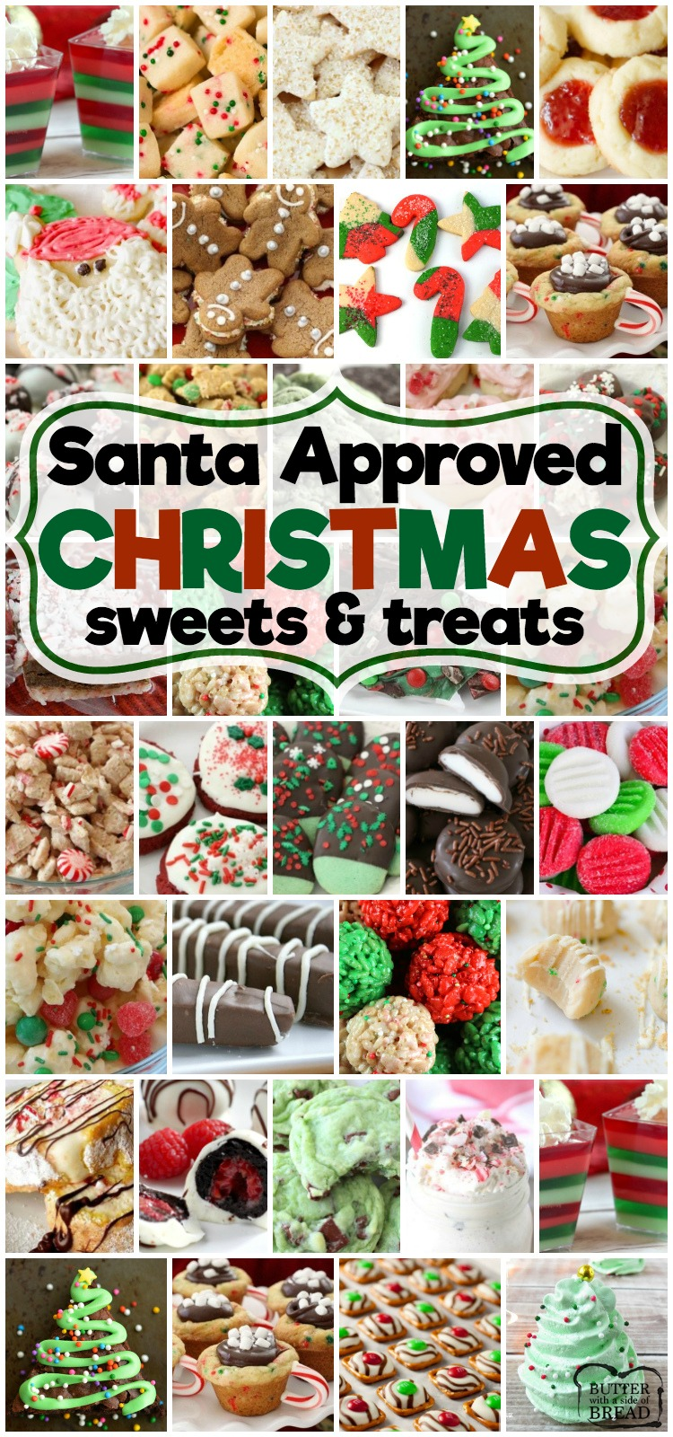 Best collection of easy Christmas treats - they're even Santa approved! Our Christmas treats are perfect for holiday parties, cookie exchanges and neighbor goodie plates!