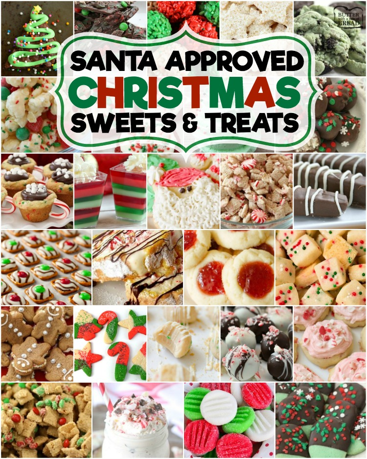 Best collection of easy Christmas dessert recipes ever- they're even Santa approved! Our Christmas desserts are perfect for holiday parties, cookie exchanges and neighbor goodie plates!