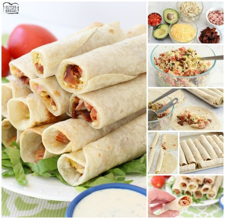 Chicken Club Roll-Ups are tasty, easy appetizers made from chicken, bacon, cheese & avocado rolled in a fresh tortilla. Chicken Club made simple!