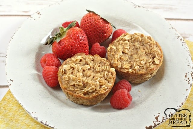 Baked Oatmeal Cups are already pre-portioned and can be made ahead for a quick, easy, delicious and healthy breakfast on the go!