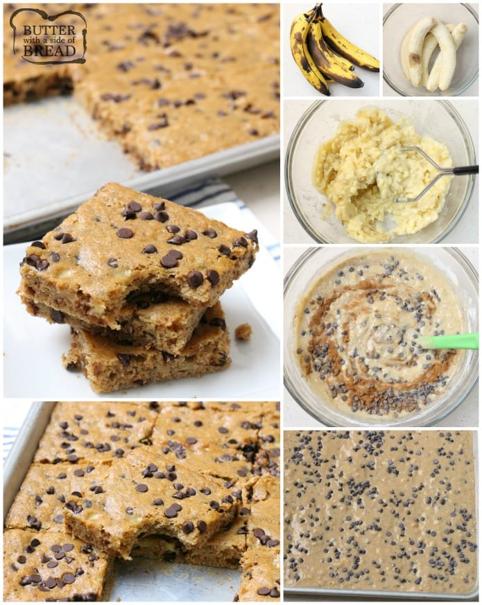 Chocolate Chip Banana Bars are a simple & delicious banana bar recipe that's even better than banana bread! Made with 5 ripe bananas, they're the perfect banana recipe. Great for breakfast, lunch and snacks in between. Check out all the 5 star reviews- everyone raves about these Chocolate Chip Banana Bars!