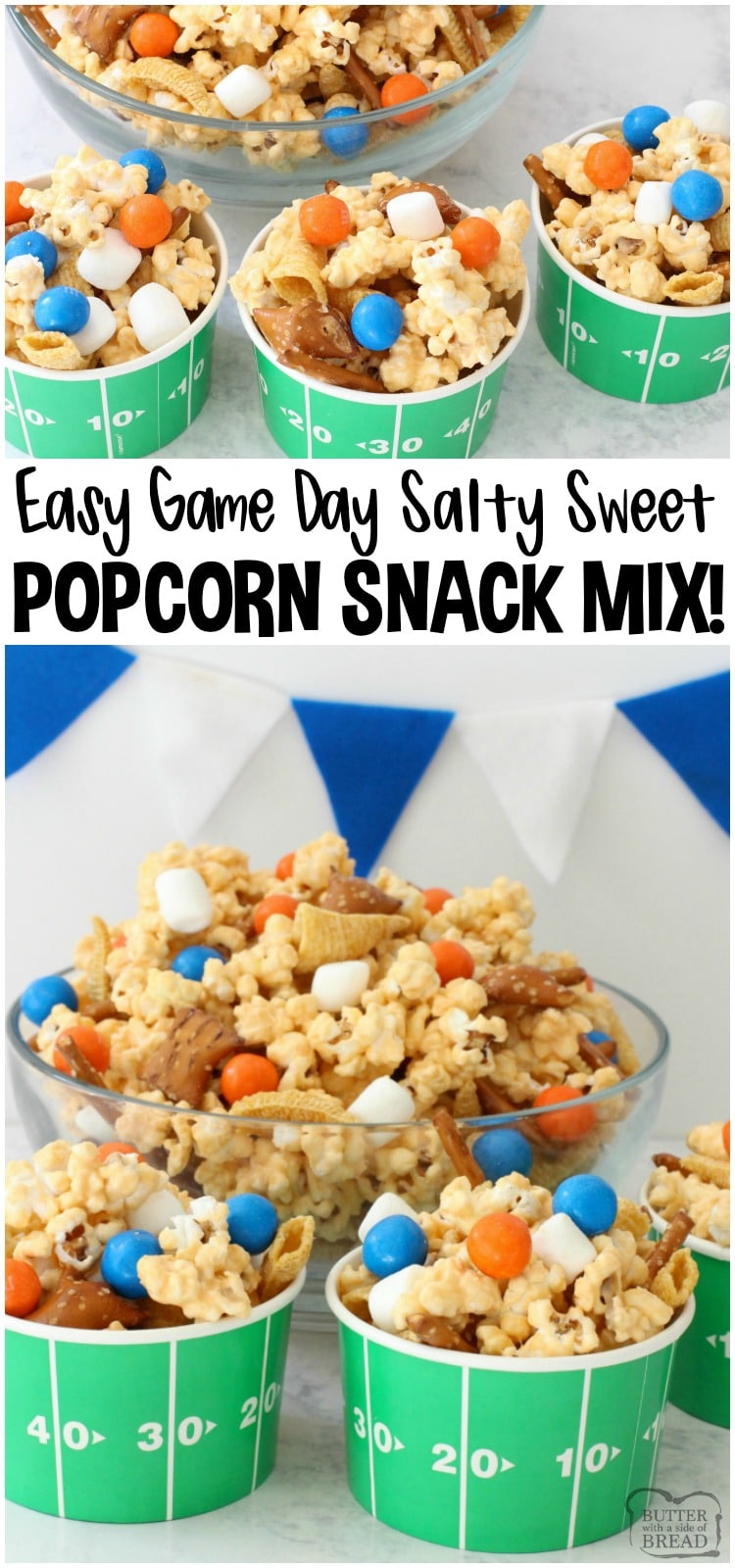 Easy Popcorn Snack Mix is sweet, salty, & perfect for excited sports fans! Customize candy colors to celebrate your team in this snack mix recipe! #snackmix #popcorn #candy #gameday #gamedayfood #superbowl #recipe from BUTTER WITH A SIDE OF BREAD
