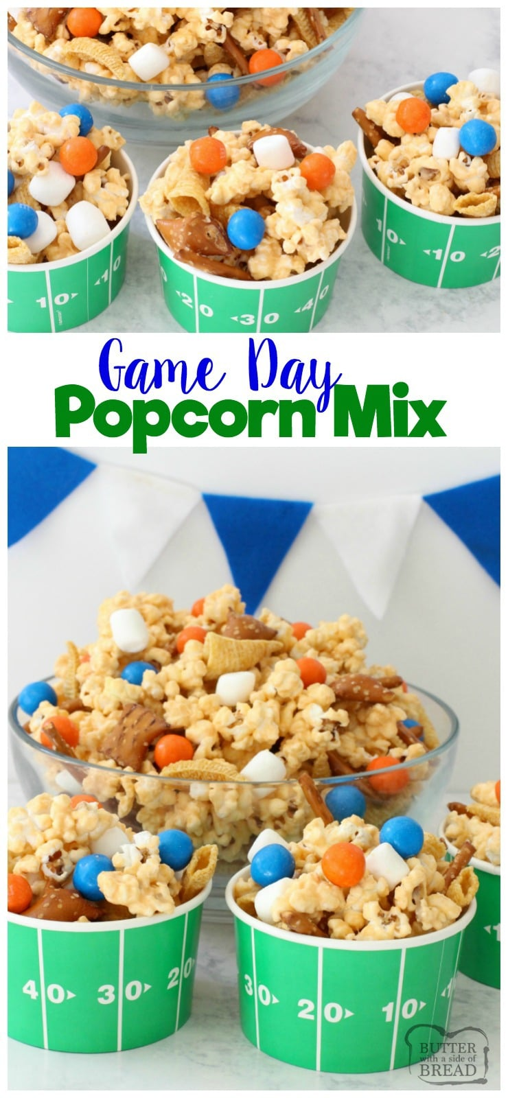 Gameday Popcorn Mix is sweet, salty, and perfect for your crowd of excited sports fans (especially when you easily customize it to your team's colors)! #popcornrecipe
