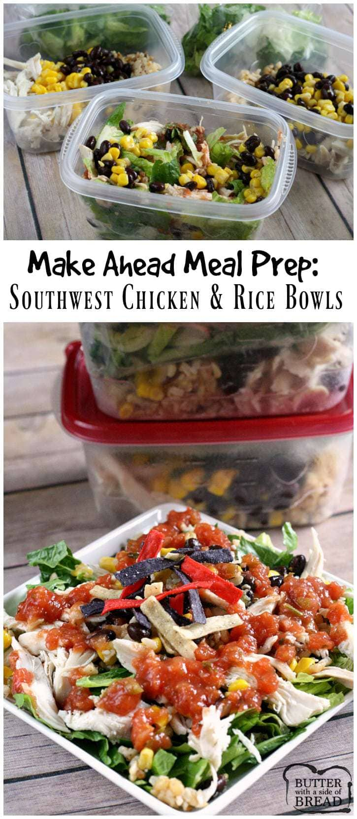 Make Ahead Meal Prep: Southwest Chicken and Rice Bowls - Butter With a Side of Bread