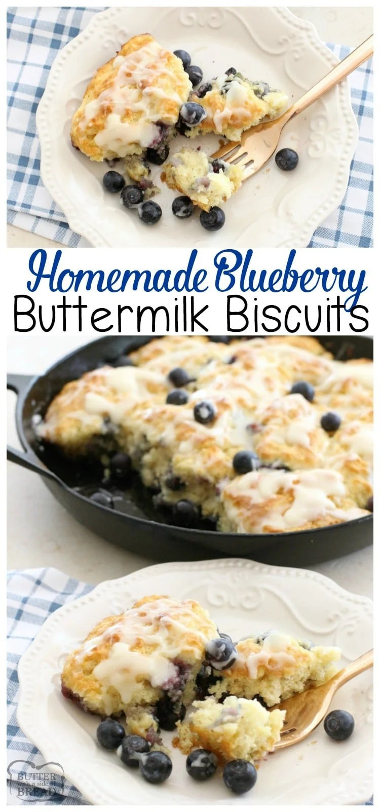 Soft, buttery & easy to make- these Blueberry Buttermilk Biscuits are perfect any time of the day! Easy homemade biscuit recipe from Butter With A Side of Bread