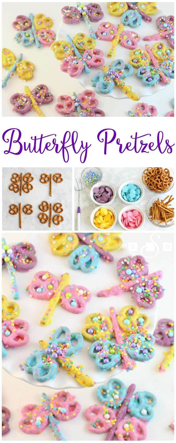 I saw this idea to make butterflies and dragonflies out of pretzels not too long ago. I'm a big fan of pretzels- I love how inexpensive they are and how good they taste when covered in chocolate! My kids absolutely adored these. We had just as much fun making them as we did eating them. I think they'd be darling cupcake toppers too!