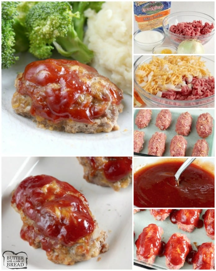Mini Cheddar Meatloaves made with just 6 common ingredients in under an hour! Mini Meatloaf is so easy to make- just shape, top each with our special 3 ingredient sauce and bake. Little cheddar meatloaves bake faster and everyone loves getting their own to eat!