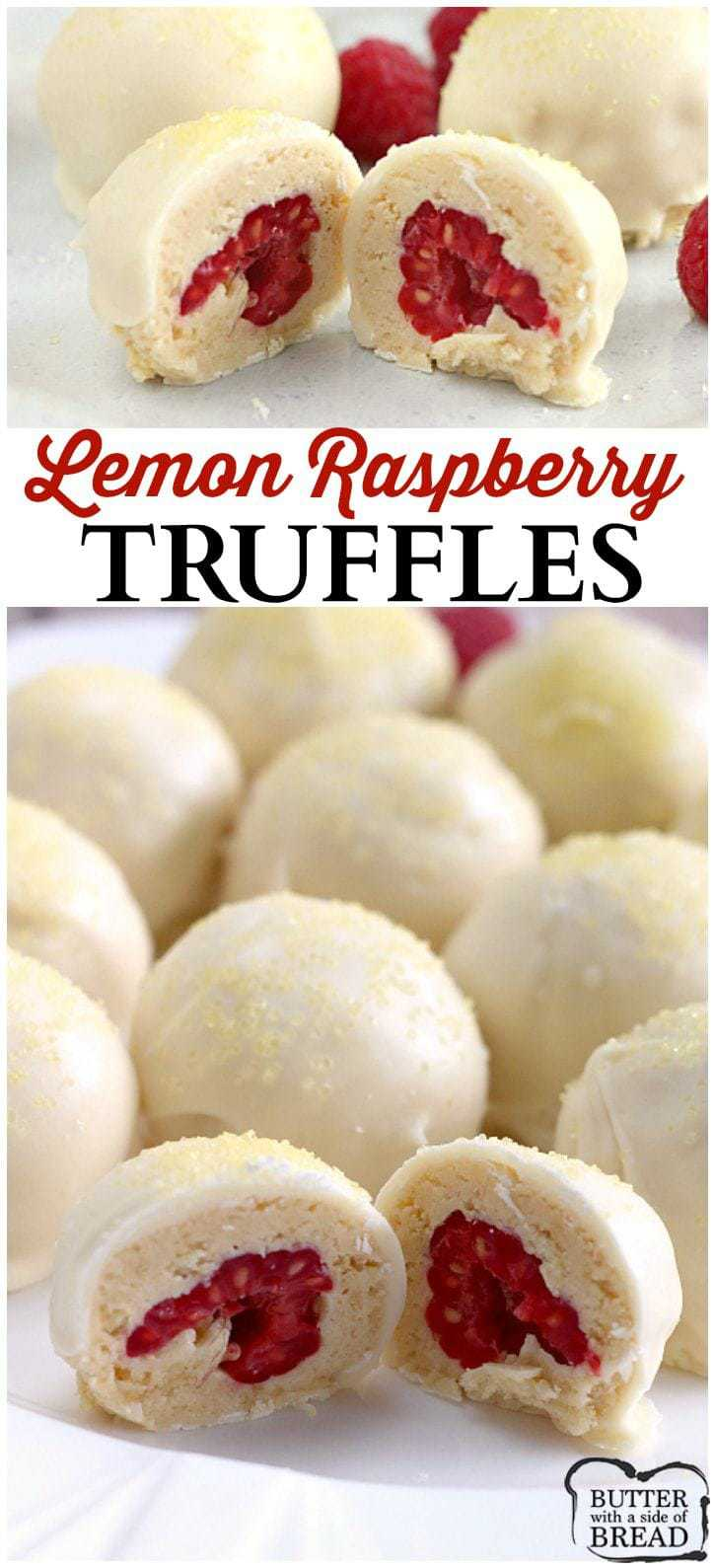 Easy Lemon Raspberry Truffles - Butter With a Side of Bread