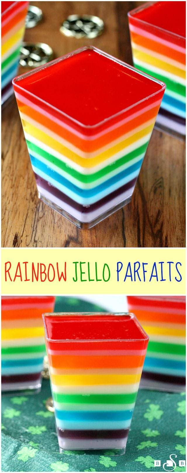 Rainbow Jello Parfaits are so festive and fun, especially for your kids on St. Patrick's Day! You only need two basic ingredients to make these...jello and yogurt! Jello dessert everyone loves!