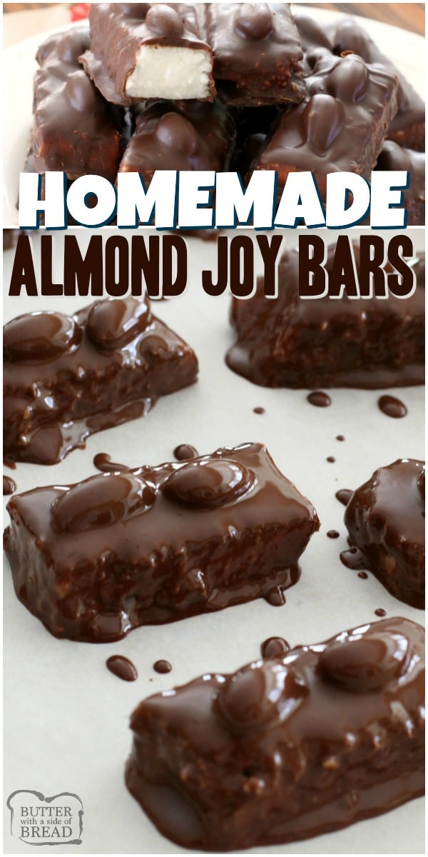 Homemade Almond Joy Bars with sweet coconut, sugar, coconut oil & dark chocolate. Topped with almonds & more chocolate for a melt-in-your-mouth treat. #almondjoy #chocolate #coconut #candy #homemade #dessert #recipe from BUTTER WITH A SIDE OF BREAD