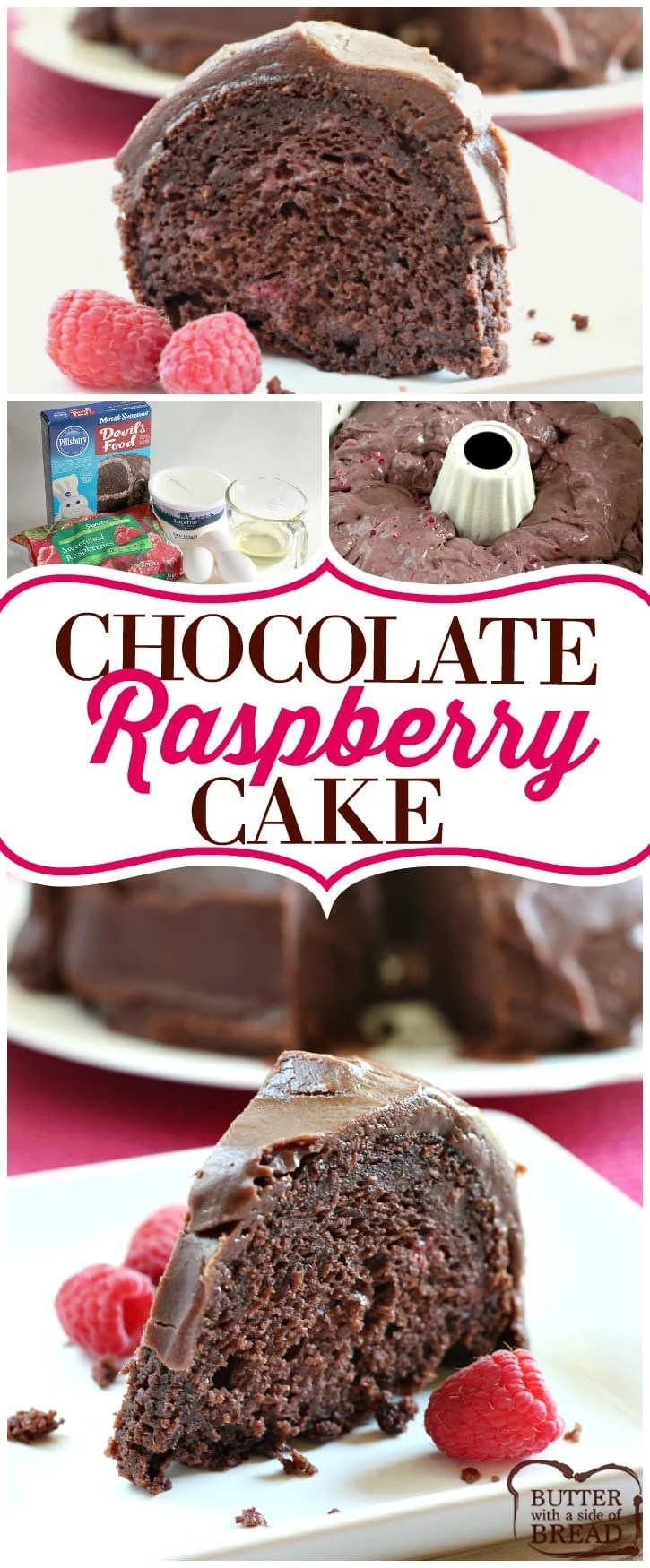 Easy cake recipe that's absolutely INCREDIBLE! Just 5 ingredients and everyone loves the chocolate raspberry combination! This Chocolate Raspberry Cake starts with a cake mix and a bag of frozen raspberries and it is so delicious, no one will ever guess how easy it is to make! Best chocolate cake recipe from Butter With A Side of Bread