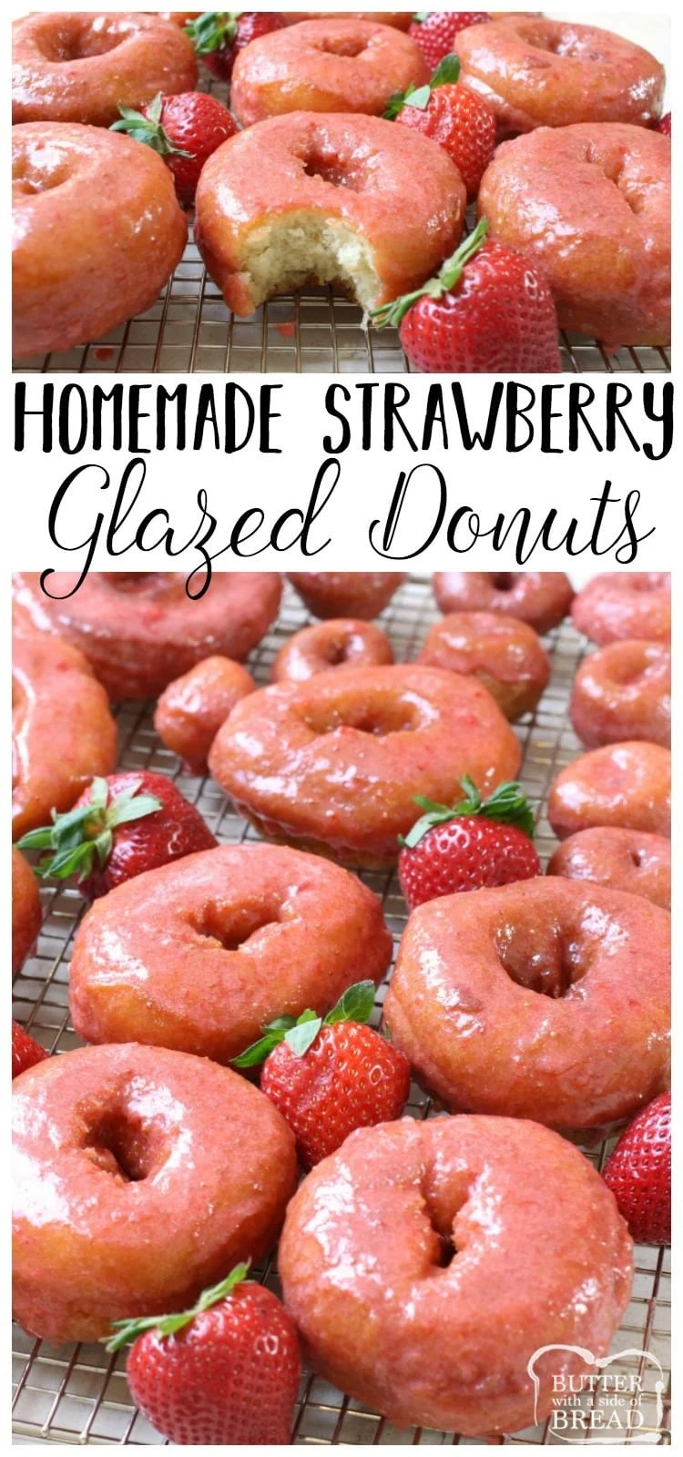 Incredible recipe for homemade Strawberry Glazed Donuts! Done, start to finish in about 30 minutes and OMG they taste SO good! The fresh strawberry glaze is amazing!