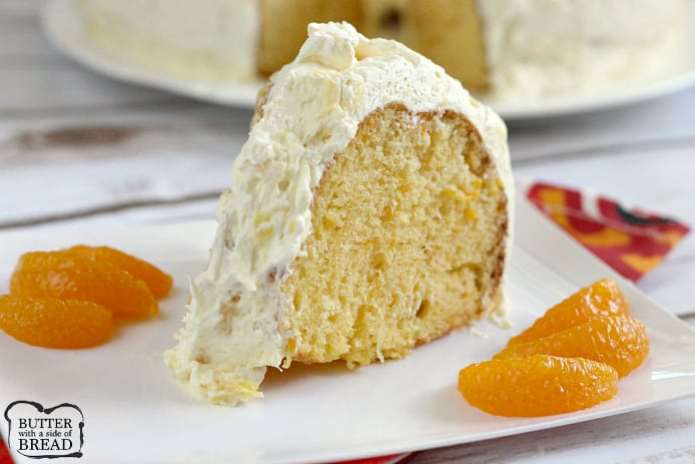 Mandarin Orange Cake with Pineapple Frosting - a light, refreshing cake that begins with a cake mix and only requires a few basic ingredients to make. Use canned oranges in the cake and canned pineapple in the frosting for a yummy, fruity dessert!