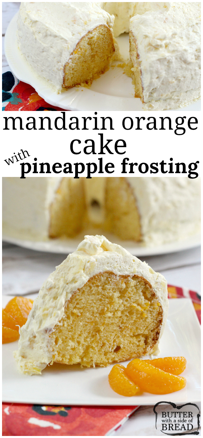 Mandarin Orange Cake with Pineapple Frosting is my favorite cake recipe of all time! Start with a cake mix and add only 3 basic ingredients for a delicious orange cake with pieces of mandarin oranges. The frosting is made with three ingredients - one is crushed pineapple!