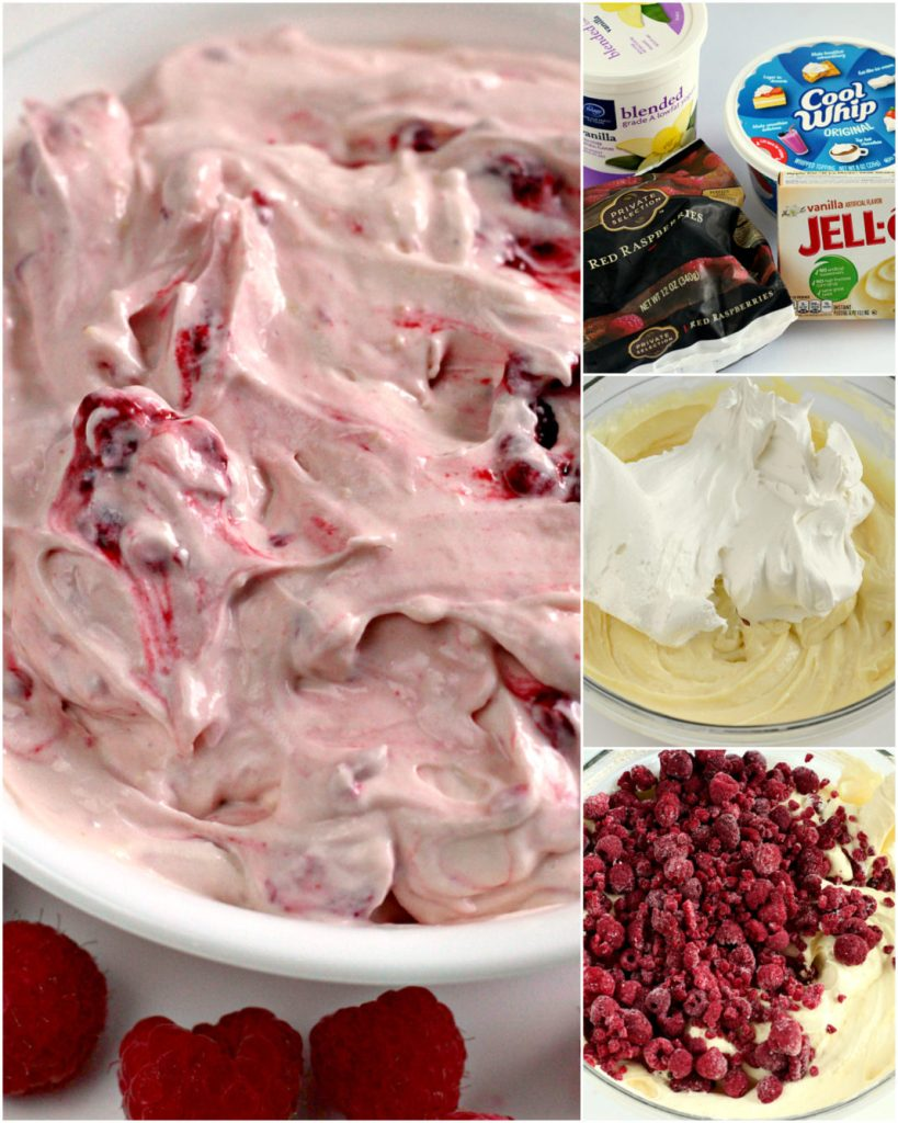 Step by step instructions and photos on how to make Raspberry Vanilla Jello Salad