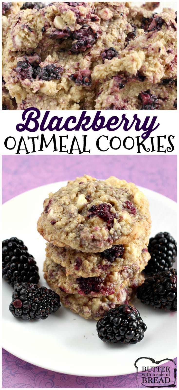These Blackberry Oatmeal Cookies are absolutely amazing! The cookies are soft and chewy and the fresh blackberries add the most delicious flavor! Easy cookie recipe from Butter With A Side of Bread