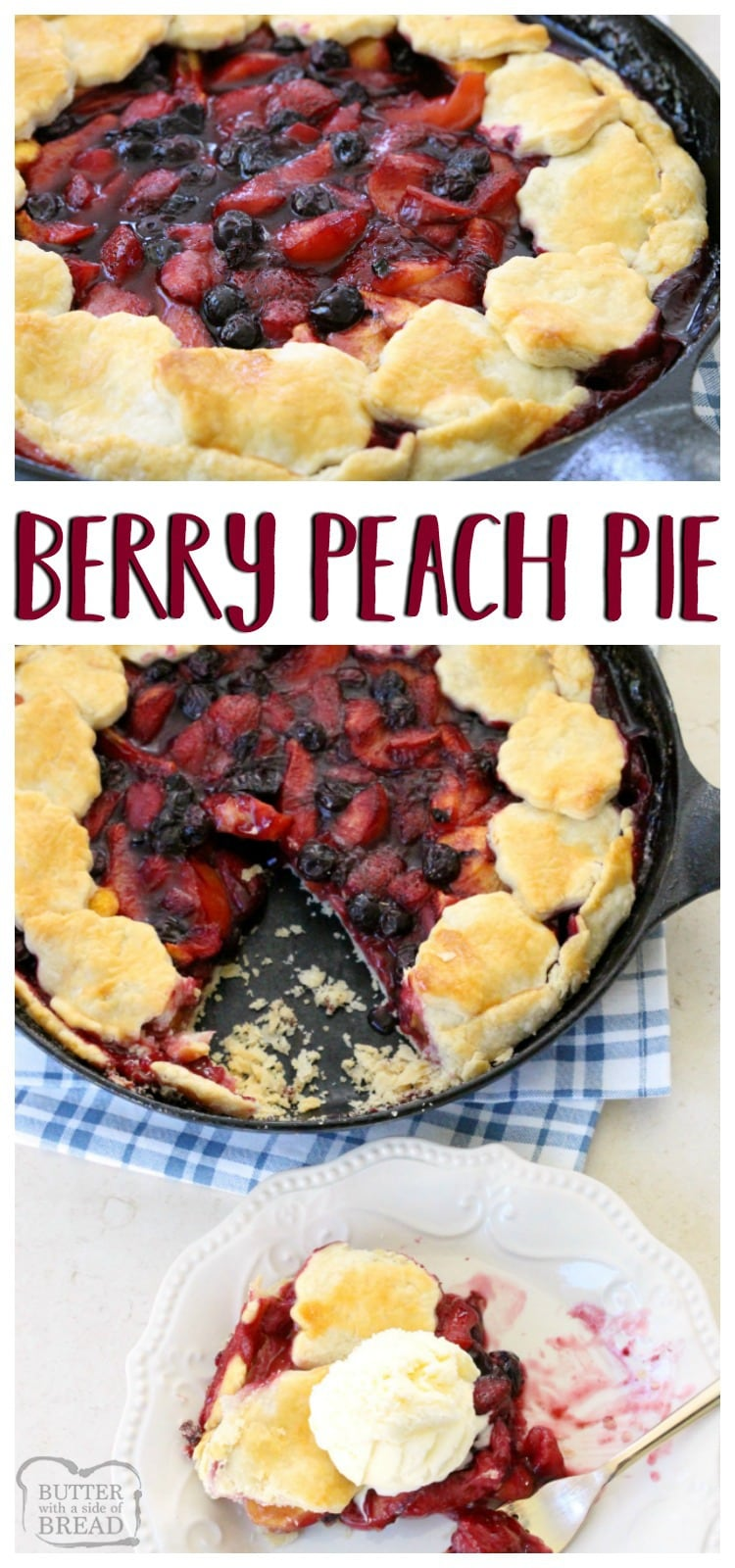 Berry Peach Pie is the perfect summer pie recipe! Simple to make with an easy crust & filled with sweet fresh fruit then topped with vanilla ice cream.