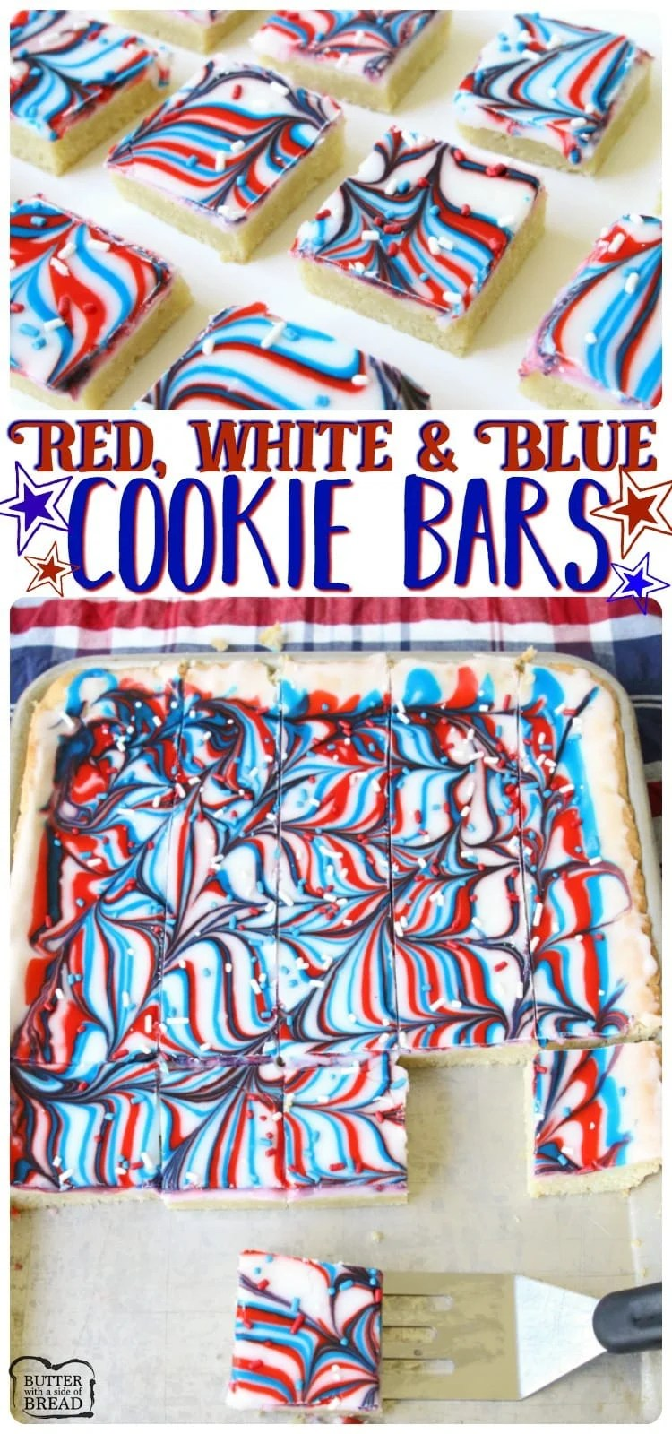 Fun Patriotic Cookie Bars made with swirled red, white & blue icing making them perfectly festive! Easy sugar cookie bar recipe for 4th of July & Memorial Day.