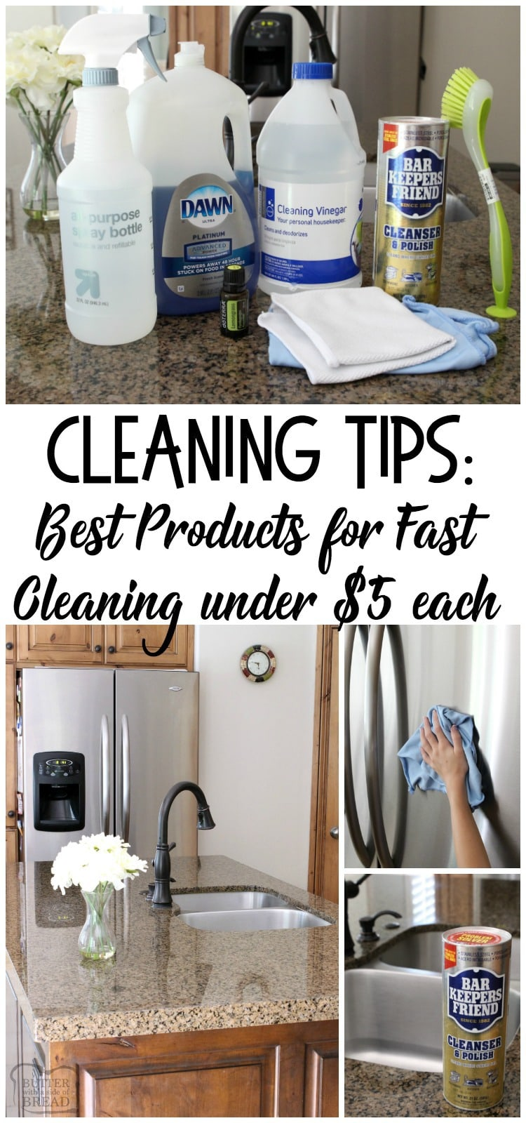 Cleaning tips and a list of best cleaning products that help your home stay clean and smell fresh. Featuring five of my favorite cleaning tools for under $5 each! Fast cleaning tips from Butter With A Side of Bread