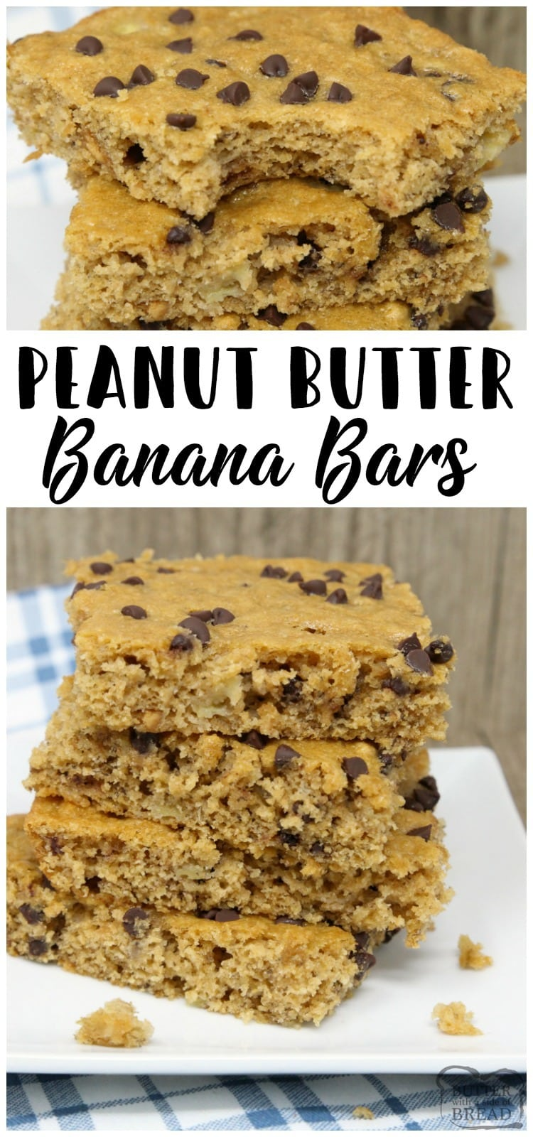 Peanut Butter Banana Bars are packed with bananas, whole wheat flour, peanut butter and chocolate chips. Perfectly sweet, filling & satisfying breakfast, school lunch or snack recipe from Butter With A Side of Bread