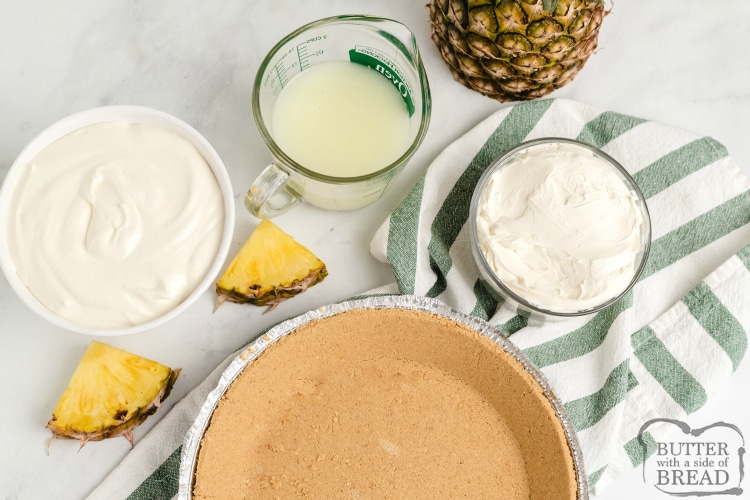 Ingredients in Pina Colada no-bake pie recipe