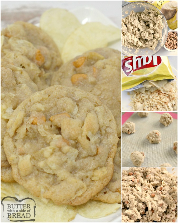 Potato Chip Cookies are the perfect combination of salty and sweet! Butterscotch chips and potato chips pair together so well in this potato chip cookie recipe!