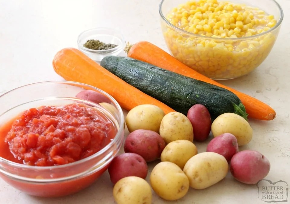 ingredients for Summer Garden Vegetable Stew recipe
