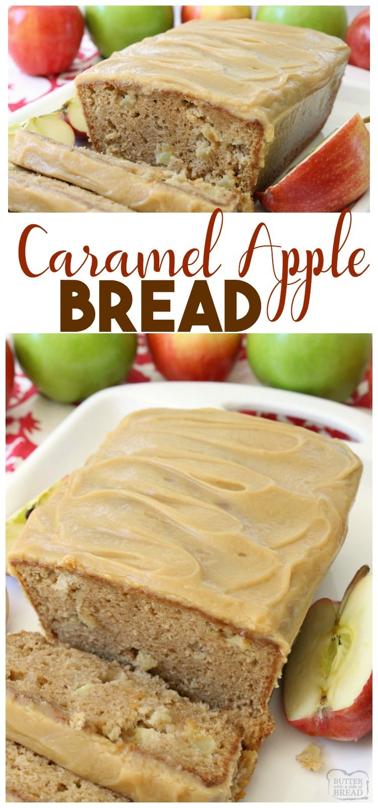 Caramel Apple Bread bursting with fresh apple, spiced with cinnamon and nutmeg, then topped with an incredibly delicious & easy to make caramel glaze. Fantastic apple quick bread recipe that everyone goes crazy over!
