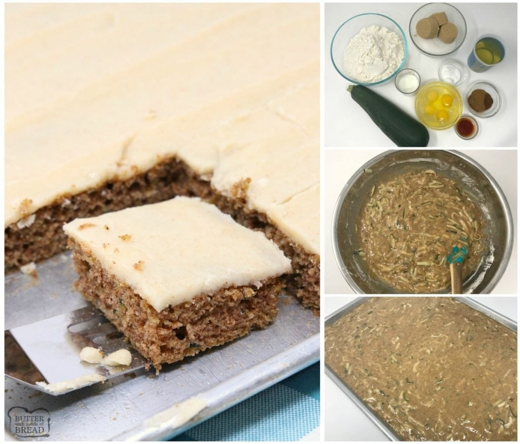 Zucchini Cake made with freshly grated zucchini and a lovely blend of spices to create a perfectly sweet, simple Zucchini Cake. Sheet cake instructions included as well!