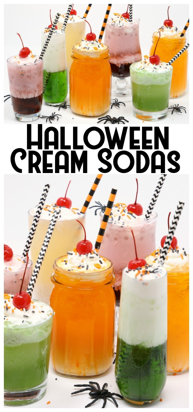 Halloween Cream Sodas made with sweet syrups, cream and club soda are a delicious & festive addition to any Halloween party! Easy #Halloween #drink idea from Butter With A Side of Bread
