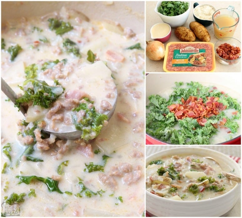 Zuppa Toscana with Italian sausage, potatoes, bacon & kale. Delightfully creamy soup with great flavor & easy to make at home. Time saving tips included!