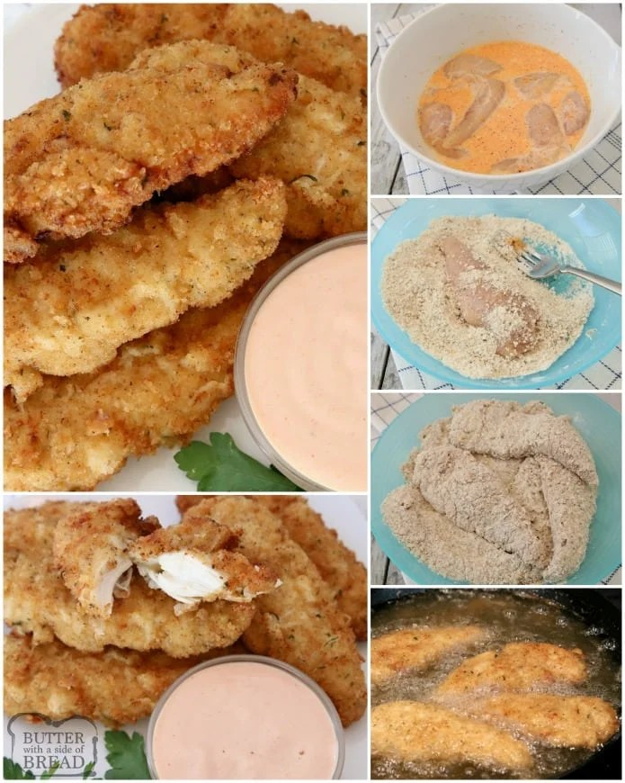 Chicken Strips made from scratch- so tender, juicy & flavorful. 2 simple tips to take your chicken tenders from good to great!