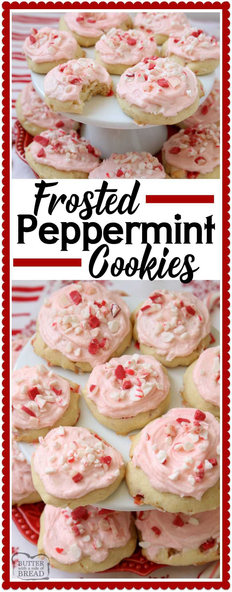Frosted Peppermint Cookies are soft, pillowy cookies baked with peppermint candy and topped with peppermint vanilla buttercream and candy cane pieces. #Christmas #Cookie #recipe made with #peppermint perfect for the #holidays from Butter With A Side of Bread