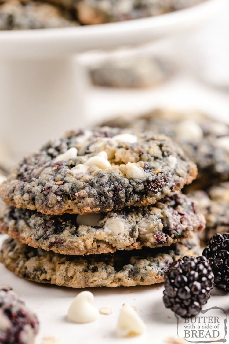 Soft and chewy oatmeal cookies with fresh blackberries