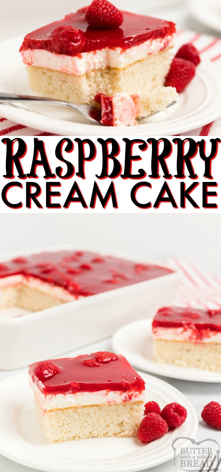 Raspberry Cream Cake begins with a white cake mix that is topped with sweet whipped cream, raspberries and danish dessert. Wonderful raspberry cake recipe with great flavors!