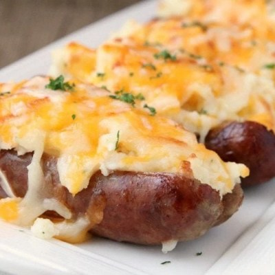 SAUSAGE POTATO BOATS