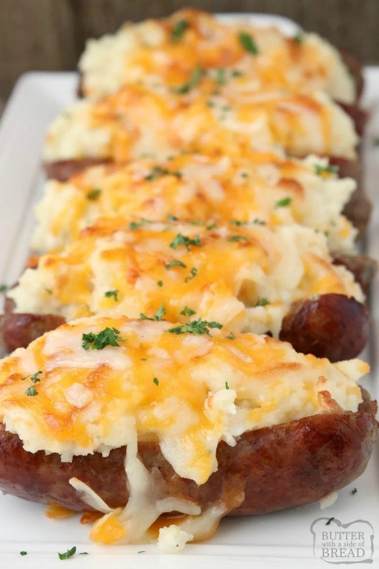 Sausage Potato Boats are an easy weeknight dinner made with juicy sausages topped with buttery mashed potatoes and lots of cheese!Simple & flavorful meal!
