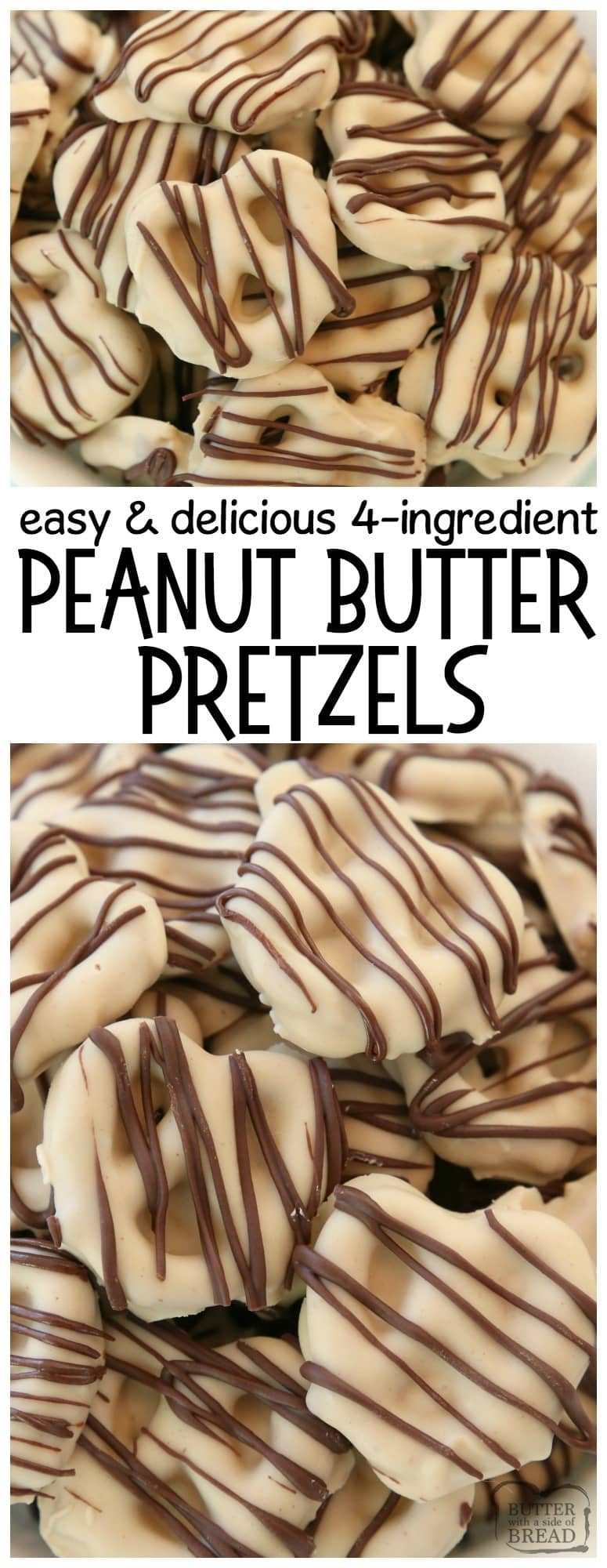 Peanut Butter Chocolate Pretzels are made with 4 simple ingredients and they're completely amazing! Easy treats made with peanut butter, pretzels, and chocolate & perfect for anytime.