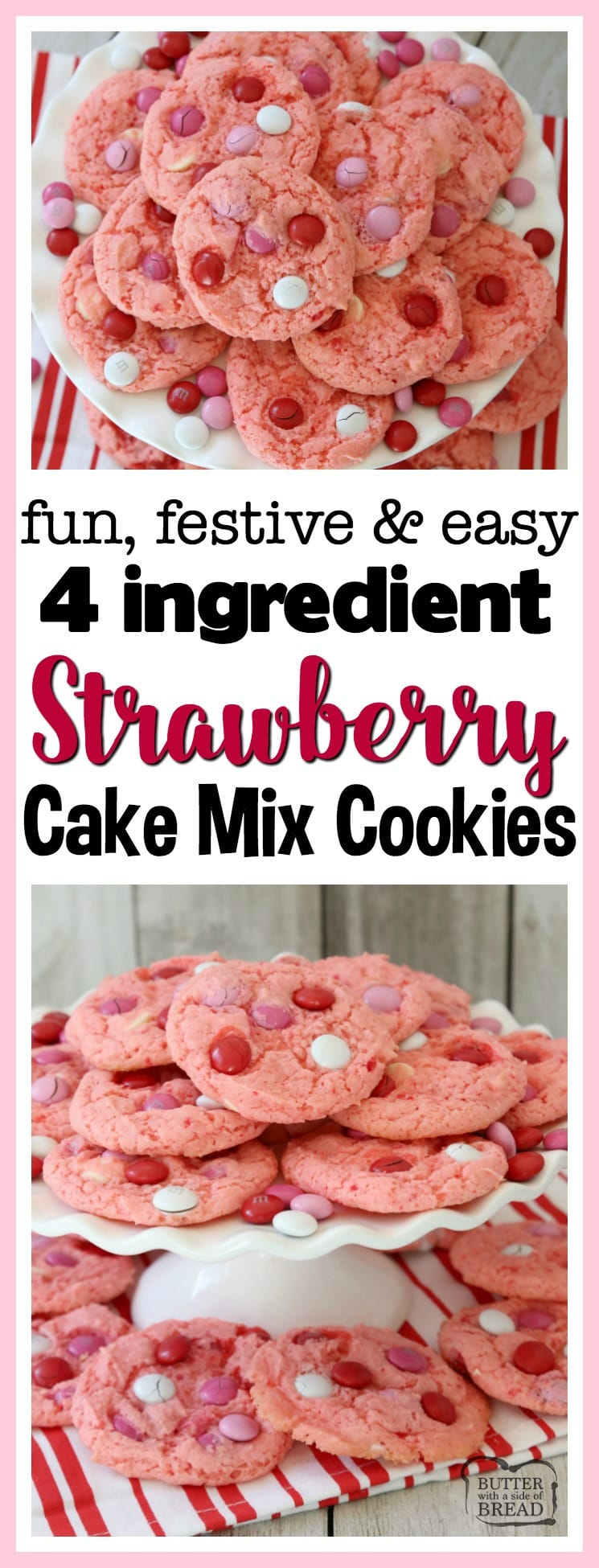Strawberry Cake Mix Cookies are soft & sweet and made with just 4 ingredients! Super simple to make these cute, festive cake mix cookies. The strawberry flavor is just perfect.