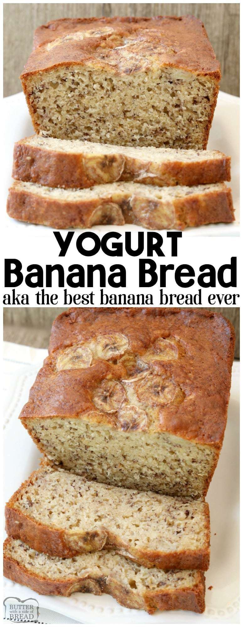 Yogurt Banana Bread is the BEST banana bread recipe ever! Made with yogurt and ripe bananas, it's super easy to make, light, moist & has the best quick bread flavor.