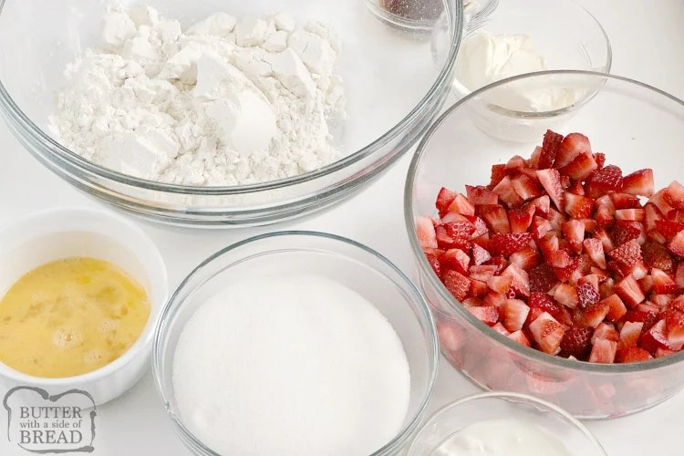 Ingredients in strawberry bread recipe