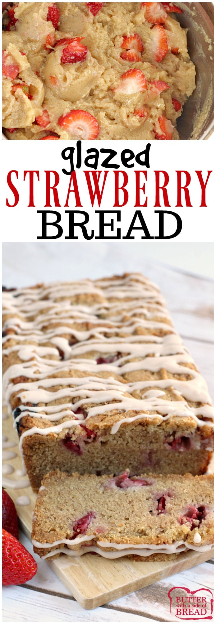 Glazed Strawberry Bread is a delicious, moist quick bread that is made with fresh strawberries and a touch of cinnamon too! The frosting is made with strawberry cream cheese for a little bit of extra strawberry flavor!