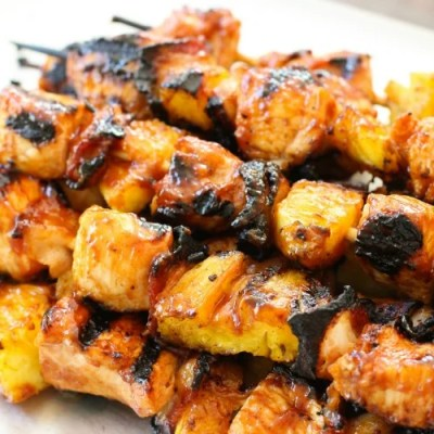 BBQ CHICKEN PINEAPPLE KABOBS with BACON